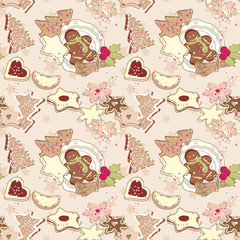 winter cookies seamless pattern