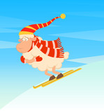 Cartoon funny skier sheep