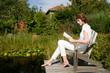 Reading a book in the garden