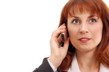 businesswoman calling cellphone
