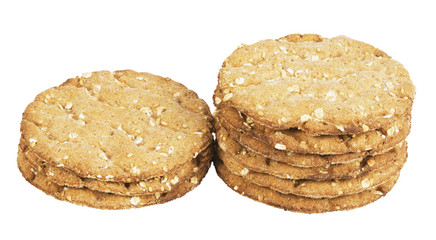round crispbread ,isolated on white with clipping path.