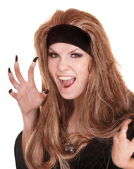 witch in black costume and long hair with claw finger.
