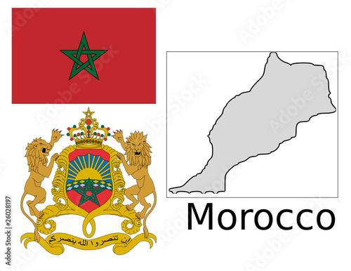 Morocco flag national emblem map - 26028197