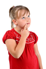Small girl thinking about something isolated on white