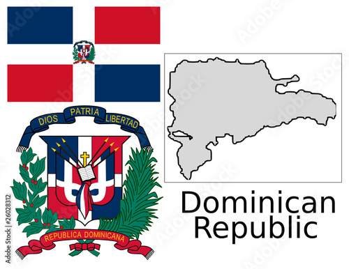 Dominican republic flag national emblem map