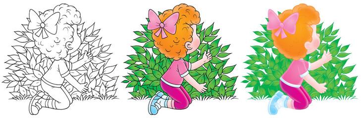 Little girl plays hide-and-seek