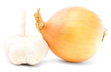 Onion and garlic. Isolated on white