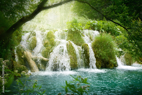 waterfall in deep forest - 26031509
