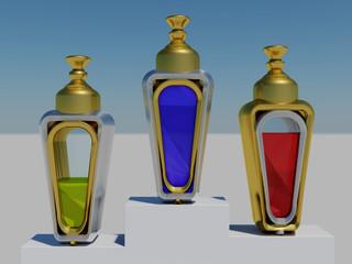 Drei Flacons mit Podest in weiss