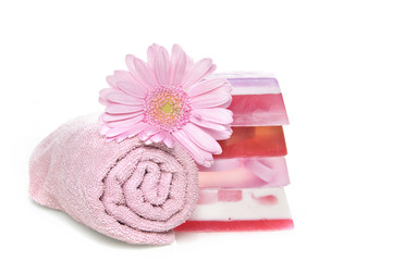 a towel and soap