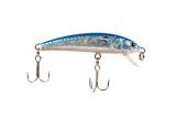 Old Scarred Blue Fishing Plug Lure Isolated on White poster
