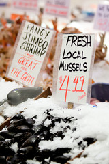 mussels - fresh local sign at market