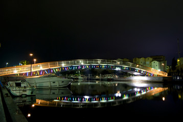 Colorful bridge in Gruissan France