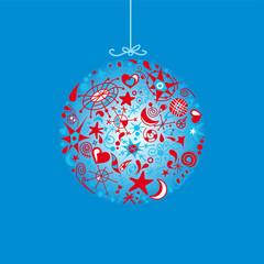 bola de navidad con galaxia
