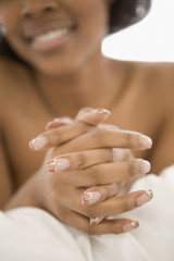 Close up of African womanÕs manicure
