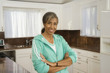 Senior African woman in kitchen