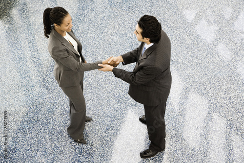 High angle of businesspeople shaking hands