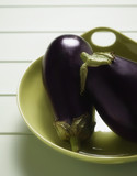 Close up of eggplants in bowl