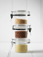 Stack of mason jars with grains