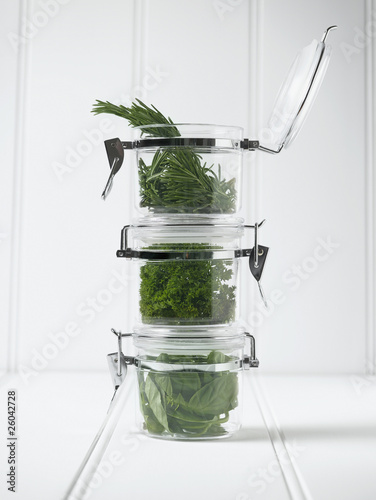 Stack of mason jars with herbs