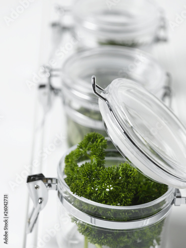 Close up of parsley in mason jar