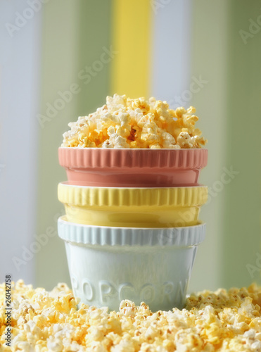 Close up of popcorn in stack of bowls