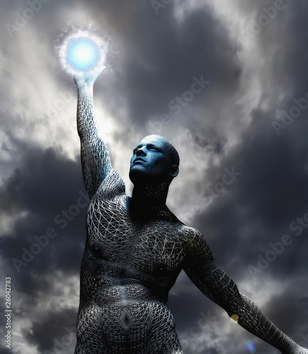 Man covered in gridwork holding ball of electricity