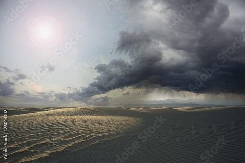 Desert with storm clouds