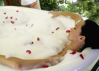 Pacific Islander woman in bubble bath