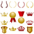 Ornament Gold and Red Icons Set