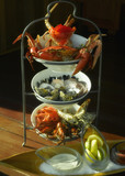 Seafood on tiered serving tray