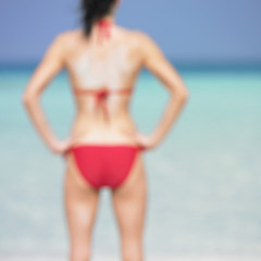 Blurry shot of woman at beach