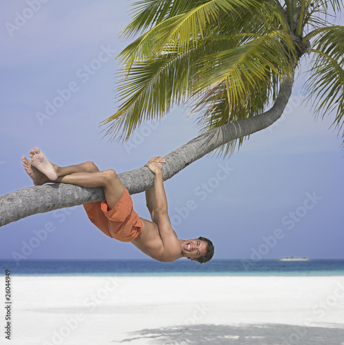 Man hanging on palm tree at beach