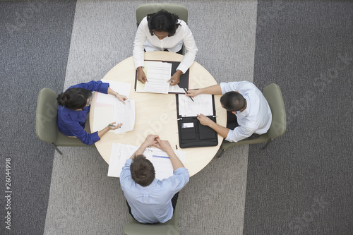 High angle view of businesspeople having meeting