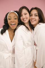 Portrait of women in spa bathrobes