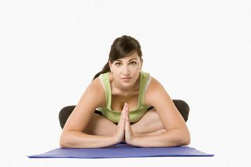Portrait of woman doing yoga