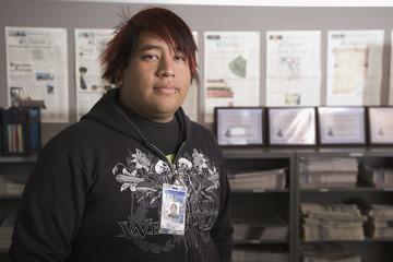 Hispanic journalism student in classroom