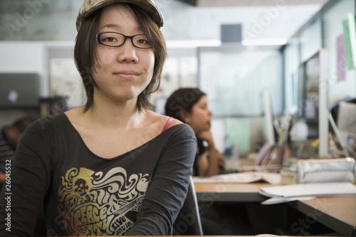 Portrait of Japanese college student in classroom