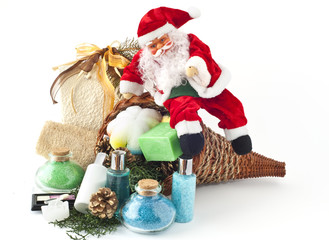 Cornucopia with gifts and Santa Claus