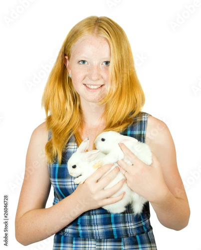 Teen girl with rabbit