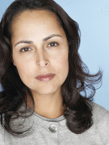 Close up of serious Hispanic woman