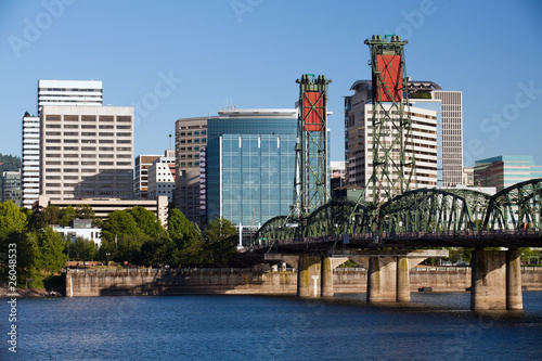 Portland Oregon Skyline with river front