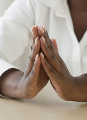 African woman praying