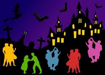 Festa di notte al castello di Halloween