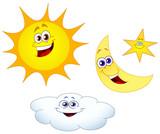 Fototapety Sun moon star and cloud