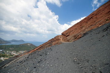Black and red slope of the Vulcano volcano, Sicily