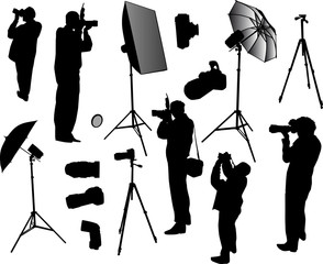 set of photographers and equipment
