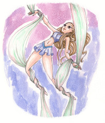 watercolors illustration of cute aerial acrobat