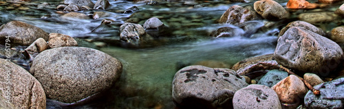 canvas print picture Panorama of a Flowing Alpine Stream