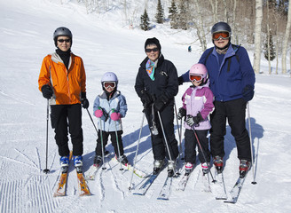 Family preparing to go skiing